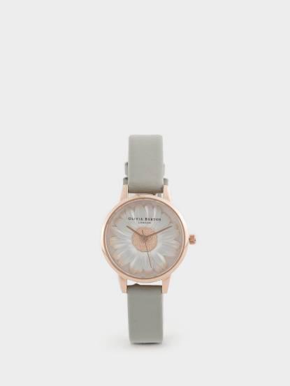 OLIVIA BURTON 英倫復古手錶 3D 立體小菊花 灰色真皮錶帶 x 玫瑰金錶框 - 30 mm