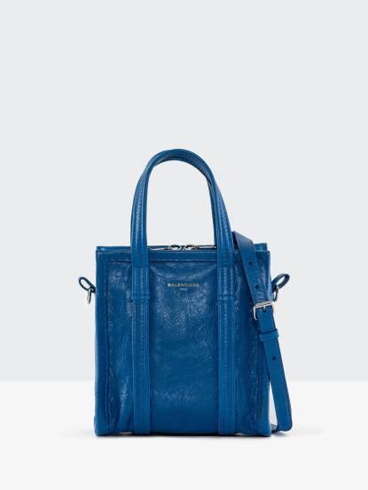 BALENCIAGA Bazar Shopper 小羊皮手提 / 斜背包 - 希臘藍 / XXS