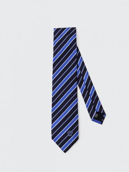 VERSACE 深藍色斜紋領帶