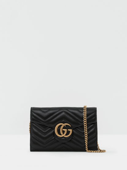 GUCCI GG Marmont 絎縫紋牛皮金屬雙G LOGO 手拿 / 斜背包 - 黑色
