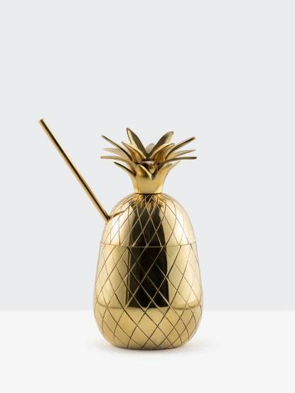 W&P DESIGN Large Pineapple Tumbler With Straw 大鳳梨造型杯 - 470 ml / 金色