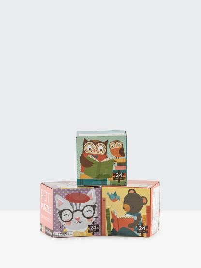 petit collage 小拼圖三入組 - 貓咪 / 閱讀貓頭鷹 / 閱讀小熊