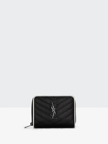 Saint Laurent YSL MONOGRAM 系列 V 字縫線魚子醬滾邊白色牛皮黑字金屬 LOGO 拉鍊短夾 x 黑