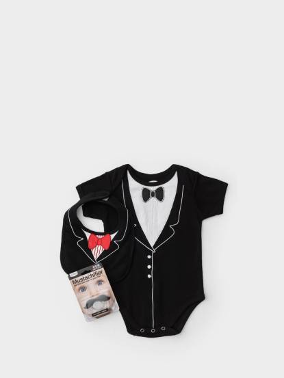 Frenchie mini couture FMC X Mustachifier 男嬰禮盒組 - 李傲納多宴會版 / 短袖