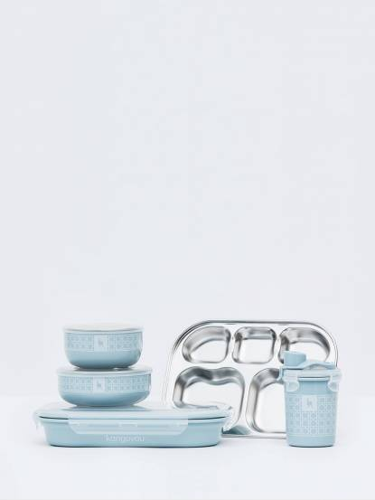 Kangovou 小袋鼠不鏽鋼安全兒童餐具組 - 野莓藍