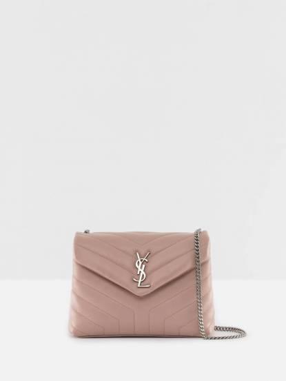Saint Laurent YSL Loulou 系列銀釦 LOGO 小牛皮 V 縫線設計肩 / 斜揹二用包 - 小 / 淺粉