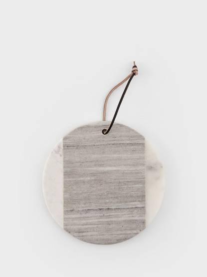 常室 灰白撞色大理石盤 - 圓形