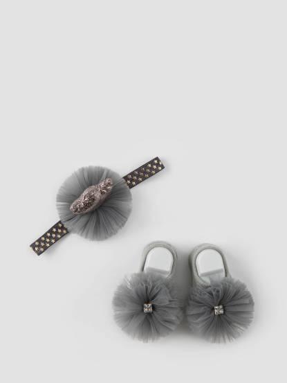 日安朵朵 Tea Party 女嬰童髮飾童襪組 - 公主錫蘭茶 / 灰色