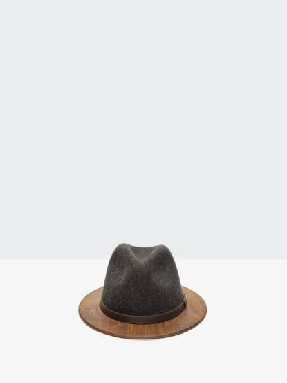 THE TWO GUYS BOW TIE Gray Fedora w / Walnut Brim 手工木製紳士帽 - 鐵灰