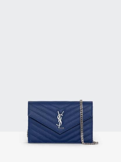 Saint Laurent YSL V字縫線斜紋牛皮金屬 LOGO 銀鍊斜肩 / 手拿包 - 小 x 寶藍