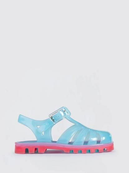 JuJu PROJECT Jelly 兒童繽紛果凍涼鞋 - 粉藍 x 粉紅