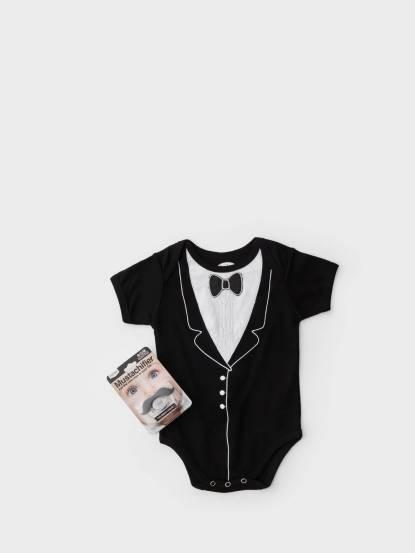 Frenchie mini couture FMC X Mustachifier 男嬰禮盒組 - 李傲納多雅痞版 / 短袖