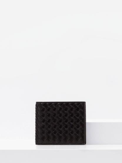 BOTTEGA VENETA 經典編織小羊皮摺疊短夾 - 黑
