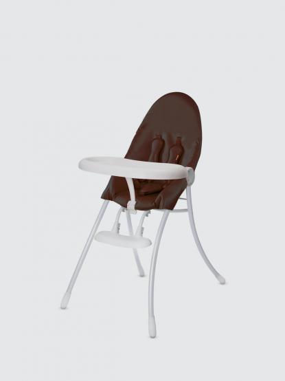 bloom nano 可折疊都會風白框餐椅 - 紅花棕