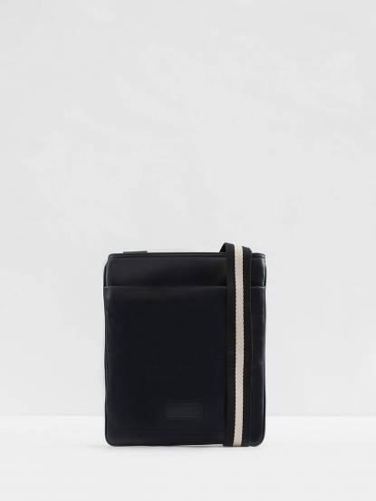 BALLY 經典 TERINO 雙色織帶小牛皮直立拉鍊斜背扁包 - 藍