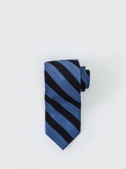 Tommy Hilfiger 雙色寬紋質感領帶 - 黑 x 藍