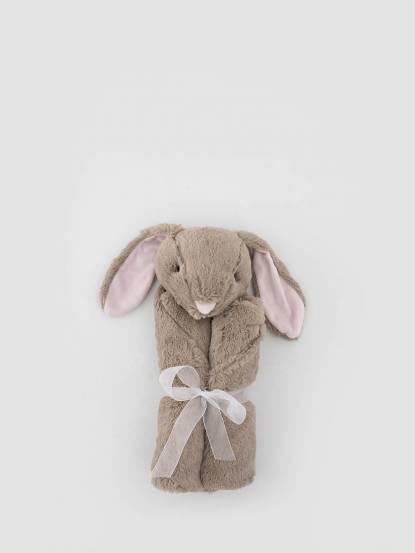 Quiltex 超柔軟動物嬰兒毯安撫毯 - 灰長耳兔