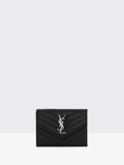 Saint Laurent YSL MONOGRAM 斜紋荔枝皮銀釦三折護照夾 - 黑色