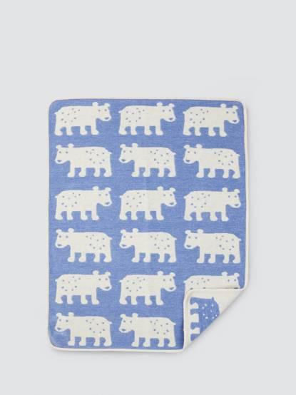 KLIPPAN 有機棉毯 - 熊熊 / 藍色