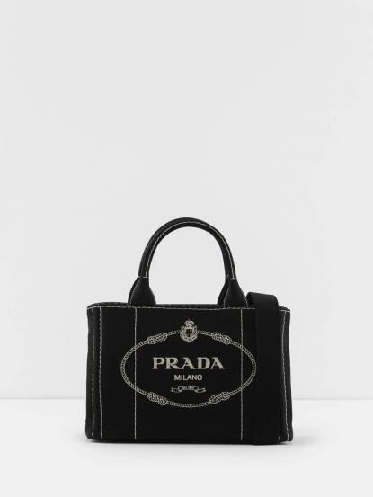 PRADA CANAPA STAMPATA 雙色格紋單寧帆布印字兩用提包 - 小 / 黑