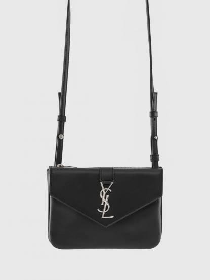 Saint Laurent YSL 銀釦字母金屬牛皮斜揹 / 肩揹包 - 黑色