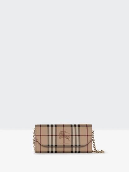 BURBERRY 皮製飾邊 Haymarket 格紋鍊飾細節皮夾 x 黑色
