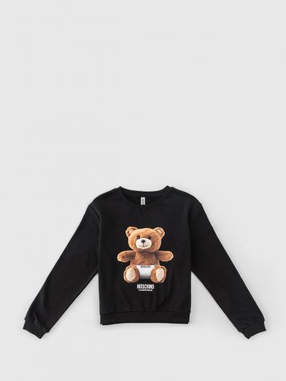 MOSCHINO 印刷熊熊長䄂短版上衣 - 黑色