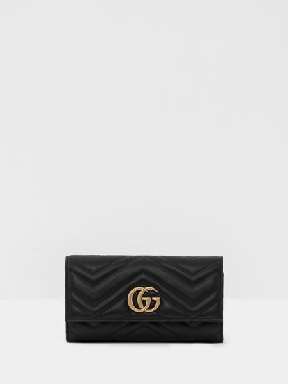 GUCCI GG Marmont 絎縫紋牛皮金屬雙G LOGO 長夾 - 黑色