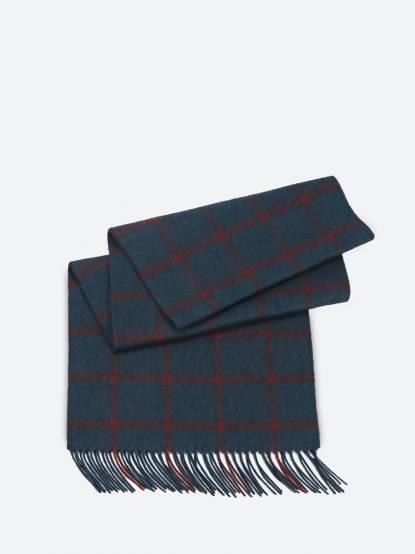 SHOKAY 絲原格紋圍巾 - 墨綠 x 鐵銹紅