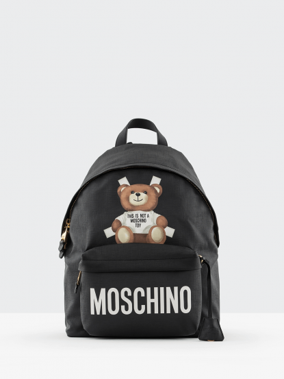 MOSCHINO 熊熊防水後背包 - 大 - 黑色