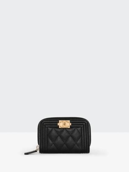 CHANEL Chanel Boy 復古金釦菱格紋荔枝皮拉鍊零錢包 - 黑