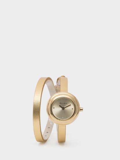 ELIXA 瑞士手錶 Finesse 簡約晶鑽錶面雙圈系列 - 28 mm / 香檳金