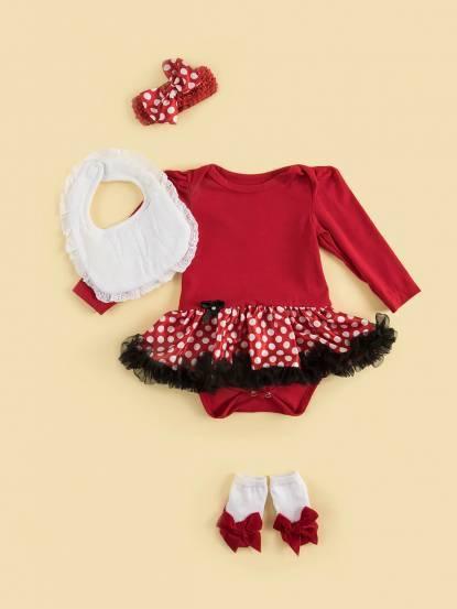 日安朵朵 女嬰雪紡蓬蓬裙連身衣禮盒 - 俏皮 M 小姐 / 長袖