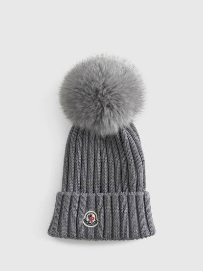 MONCLER 羊毛線條設計針織毛帽 - 灰