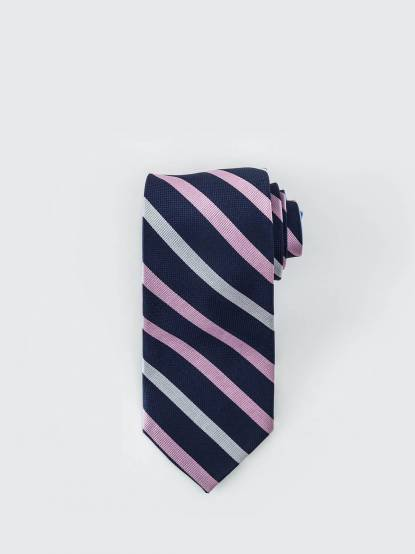 Tommy Hilfiger 混色寬紋質感領帶 - 藍 x 粉 x 白