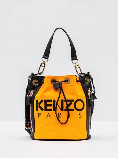KENZO Kanvas Bucket Bag 真皮拼接兩用水桶包 - 橘