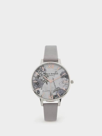 OLIVIA BURTON 英倫復古手錶大理石紋路紫色花園 丁香紫真皮錶帶 x 銀錶框 - 38 mm