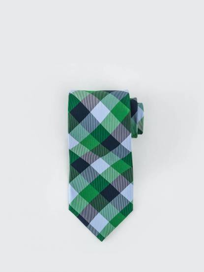 Tommy Hilfiger 混色格紋領帶 - 綠 x 藍