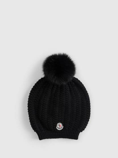 MONCLER 經典品牌 LOGO 羊毛針織貂毛絨球毛帽 - 黑