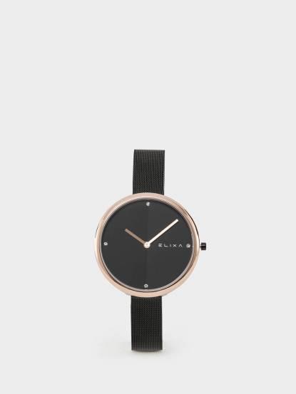 ELIXA 瑞士手錶 Beauty 時尚雙色錶盤米蘭帶系列 - 黑色