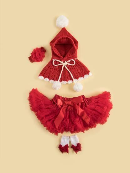 日安朵朵 女嬰童蓬蓬裙禮盒組 - 小紅帽 / 披肩