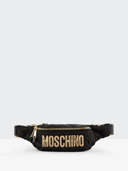MOSCHINO Moschino 菱格紋縫線金色 LOGO 尼龍腰包 / 斜背包 - 黑