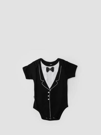 Frenchie mini couture 男嬰連身衣 - 黑領結燕尾服 / 短袖