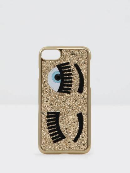 CHIARA FERRAGNI 亮粉眨眼圖手機保護殼 for iPhone 7 plus - 金