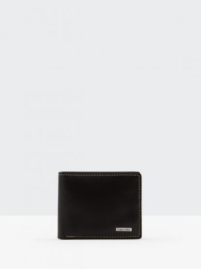 Calvin Klein 深咖亮面真皮雙折短夾