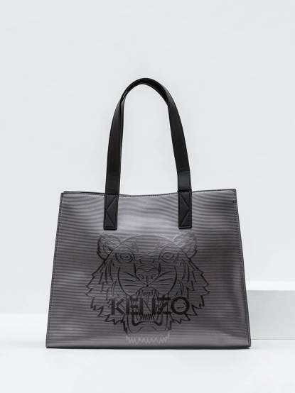 KENZO Metallic Tiger tote 老虎圖騰亮面托特包 - 大 / 灰