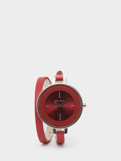 ELIXA 瑞士手錶 Finesse 簡約錶面纏繞系列 - 38 mm / 紅色