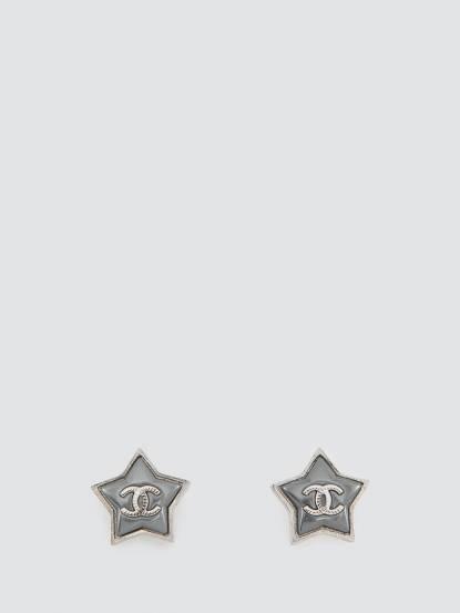 CHANEL Chanel 雙 C logo 星星耳環 - 銀灰色