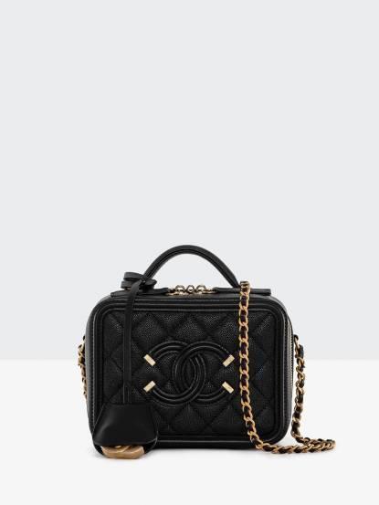 CHANEL Chanel CC Filgree Vanity Case 荔枝紋牛皮金鍊化妝箱包 - 黑 / 小