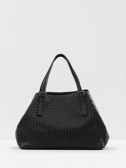 BOTTEGA VENETA 經典小羊皮編織手提肩背購物包 - 大 / 黑
